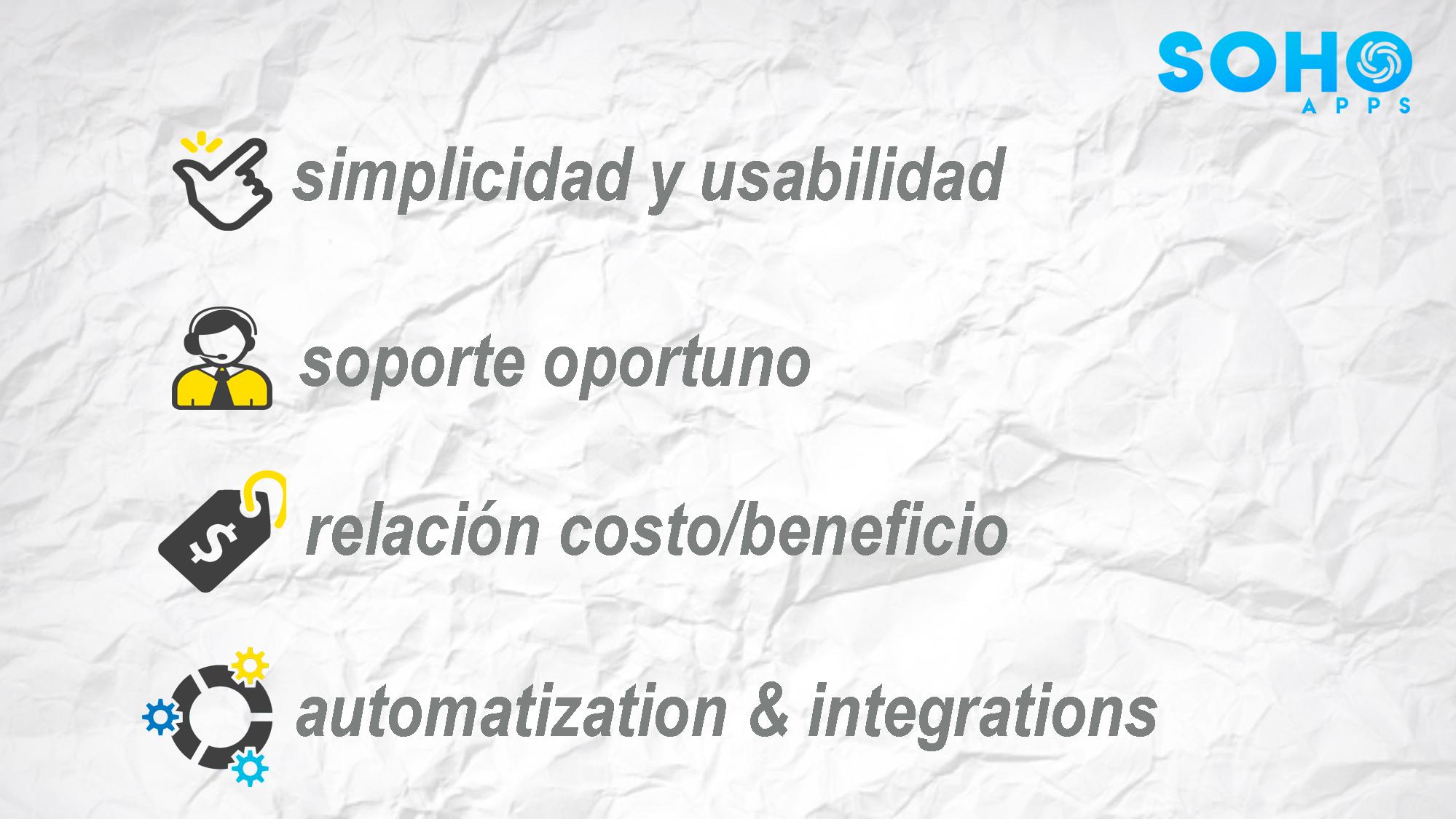 simplicidad, usabilidad, soporte oportuno, relación costo-beneficio, automatización e integración